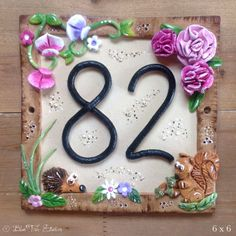 Whimsical Ceramic House Number Sign with pretty in pink peonies House Name Plaques, Door Plaques, House Address Numbers, Ceramic House Numbers, Ceramic Houses, Polymer Clay Art, Pink Peonies, Glazed Ceramic, Clay Crafts