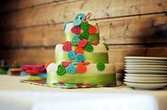 Rainbow cake witr buttons