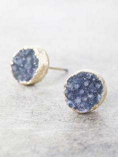 Druzy Post Earrings - Navy Blue
