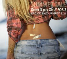 DON'T MISS OUR SUMMER SALE 2015 - Order 3 pay ONLY FOR 2 !!! By using the promo code SUMMER2015 at checkout | This promo ENDS on August 31st | www.goldensoultattoos.com |Worldwide Shipping | #goldtattoo #goldentattoo #temporaryjewelry #silvertattoo #summersale #summersale2015 #summer2015