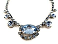 Vintage Necklace Blue Rhinestone Swag by EclecticVintager on Etsy, $40.00