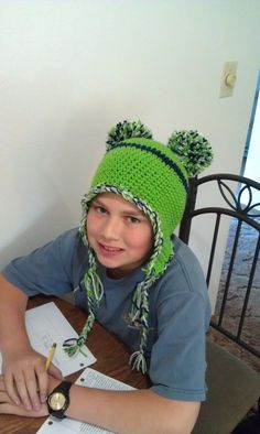 Seahawks crochet hat