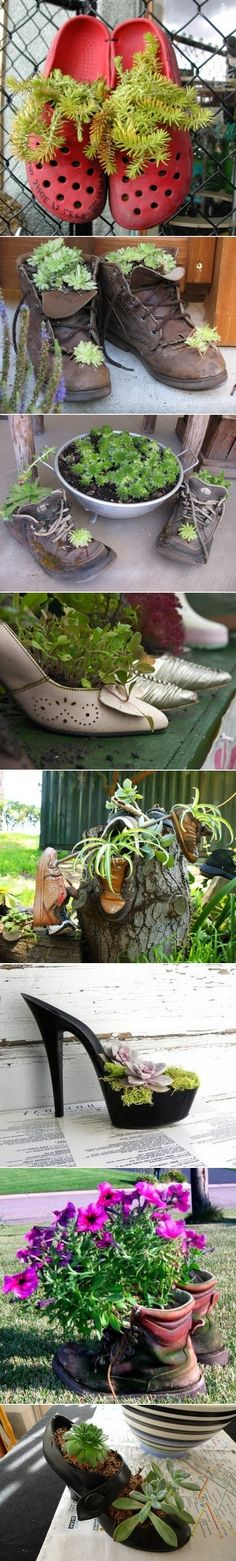 Use Old Shoes As Planters