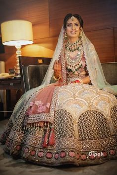 Looking for Unique bridal lehenga with contrasting dupatta? Browse of latest bridal photos, lehenga & jewelry designs, decor ideas, etc. Indian Bridal Photos, Indian Bridal Outfits, Indian Bridal Fashion, Indian Bridal Wear, Indian Designer Outfits, Latest Bridal Lehenga, Designer Bridal Lehenga, Indian Bridal Lehenga, Red Lehenga