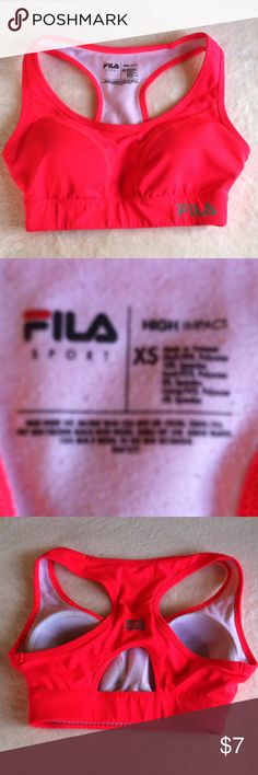 Fila active sports bra Extra Small XS •Excellent used condition •Worn a handful of times •High impact •Padded •Color: Neon Pink •Brand: Fila •Size: XS Extra Small •NO TRADES Fila Intimates & Sleepwear Bras