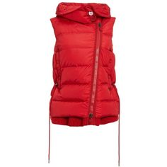 Women's Moncler 'Laurie' Hooded A-Line Down Vest ($1,515) ❤ liked on Polyvore featuring outerwear, vests, down filled vest, asymmetrical vest, red waistcoat, hooded vests and down vest