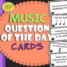 Music Question of the Day Cards (Elementary Music Assessments to Start Class) Musik-Frage der Tageskarten Elementary Music Lessons, Singing Lessons, Piano Lessons, Singing Tips, Elementary Schools, Question Of The Day, This Or That Questions, Middle School Music, Music Classroom