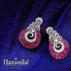 Exemplify your style with these diamonds and rubies earrings. #hazoorilaljewellersGK #Hazoorilal #HazoorilalBySandeepNarang