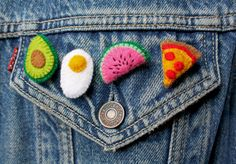 This listing is for the full set of felt food brooches.  This set is inspired by the favourites of my nearest and dearest. A lovely set of small brooches to add some colour and fun to any jacket or outfit. I build up layers of felt and little embroidered details and theres a small amount of polyester stuffing in a couple of them. They have safety clasp brooch pins sewn to the back. They measure approximately 3cm at the widest point.  Please remember that everything is handmade and may vary…