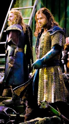 Dean O'Gorman and Aidan Turner as Fíli and Kíli.  While their costumes in the first 2 movies were great, their BOFA armor is truly outstanding.