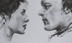 I can't wait for 9/10. I miss them so much that I've decided to draw them!  Beautiful, handsome human beings. #outlander #love #drawing #pencil