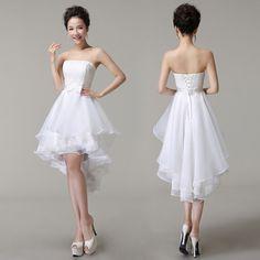 High Low Wedding Dresses Puffy Mid Calf Luxury Lace White Lace Up Vestido De Festa Short Front Long Back Wedding Dress 2015