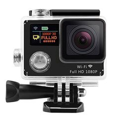 SinoPro 30 HD 1080P 170 Fisheye Action Camera 12MP Waterproof WIFI Action Camcorder Accessory Bundles Front  Back Dual LCD Screens -- For more information, visit image link.
