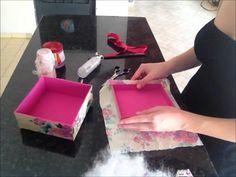 Artesanato - Como Fazer Caixa de Madeira com Tecido Floral, Caixa de MDF...