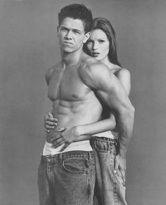 Kate Moss and Mark Wahlberg in Calvin Klein ad. loooove it