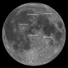All the landing sites can be found using these five prominent lunar craters. North is up in this view. Credit: NASA/LRO