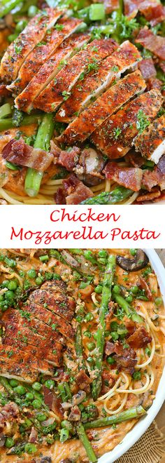 Chicken Mozzarella Spring Pasta - Have dinner on the table in 35 minutes.  This creamy tomato pasta is easy to make and uses fresh vegetables, chicken, and bacon from @Albertsons #AD