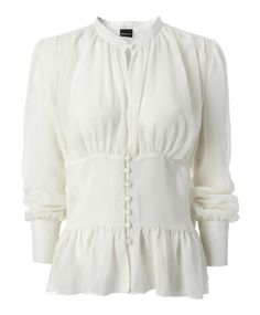 I <3 solid girly blouses like this, especially if they are fitted in the middle & 1/2 or 3/4 sleeves (I have short stubby T-rex arms)