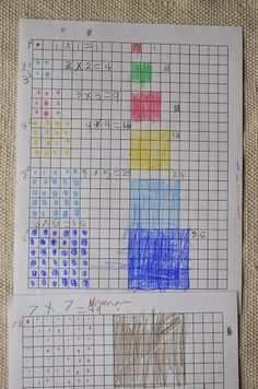 Me Too has been continuing his squaring work. This is an on-paper extension of the work he did with the short chains and squares la. Montessori Preschool, Montessori Elementary, Montessori Education, Preschool Classroom, Elementary Math, Math Education, Teaching Math, Teaching Reading, Math For Kids
