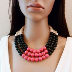 Color Block Necklace - Multi Strand Necklace - Wood Necklace - Multi Colored Necklace - Black White Pink on Etsy