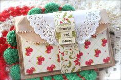 """How to make the second version of the """"Double Pocket Pretties"""". The double pocket brown paper sack is folded like an envelop. This idea will work for any season or occasion. Mish Mash: 12 Days of Christmas...Day 3."""