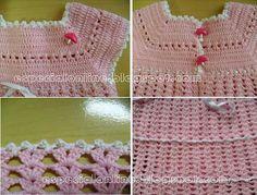 Agora o vestido de croche de bebê está prontinho e com passo a passo completo.           English download in PDF : http://www.ravelry.c...