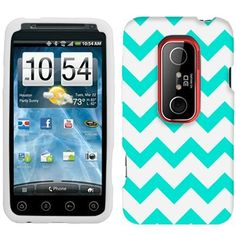 HTC EVO 3D Chevron Turquoise and White Pattern Phone Case Cover