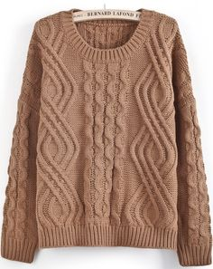 Khaki Long Sleeve Geo Pattern Cable Knit Sweater - Sheinside.com