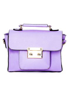 Meet The Must Have Color of the Season - Lilac for Summer/Fall - Elle: MISSGUIDED Brodbecka Lilac Lock Detail Satchel, $20.26; misguided.co.uk