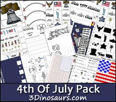 Free 4th of July for ages 2 to 8 - over 75 pages of activities 3Dinosaurs.com