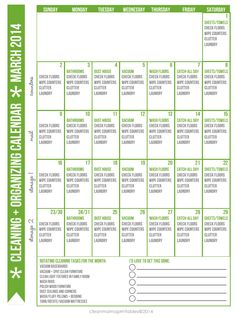 FREE Cleaning + Organizing Calendar for March 2014 via Clean Mama