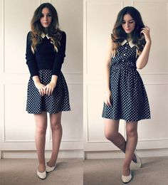 white small polka-dot semi-button down collared vintage dress and white flats, add a sweater for the fall. How to wear a dress throughout the seasons, year round