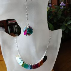 Bohemia Carnival  Dyed Mussel Shell and Silver Chain Necklace and Earrings Set by ReasonablyRustic, $45.00