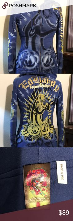 ED HARDY hoodie ED HARDY Panther design rhinestone SIZE S purple with black and gold accents by Christian  Audigier... nice fit... rare find... Ed Hardy Jackets & Coats