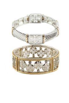 Canterbury Cross Bracelet Set - Silver + Gold