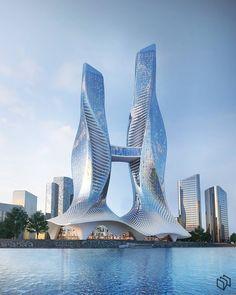 Conceptual design for two towers with commercial podium located in bahrain Architecture Concept Drawings, Unique Architecture, Futuristic Architecture, Future Buildings, Tower Building, Futuristic City, Amazing Buildings, Conceptual Design, Nature