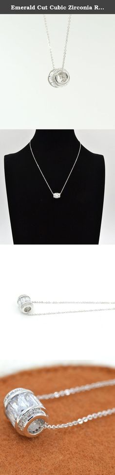 Emerald Cut Cubic Zirconia Rolling Bead Silver Pendant Necklace, 15'' with Extender. Habeats - stylish quality jewelry for young people Habeats provides a wide selection of fashion jewelry with both affordability and top quality. It carries latest women's jewelry, including studs, earrings, bracelets, bangles, necklaces, rings and sets, and men's jewelry, including bracelets and necklaces. Habeats focuses on sleek fair designs and best quality. All products come with a free habeats gift box.