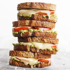 Tomato-Avocado Grilled Cheese. More yummy grilled cheese sandwiches: http://www.bhg.com/recipes/sandwiches/grilled-cheese/