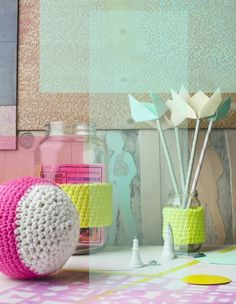 Knit some neon bands for your glass containers