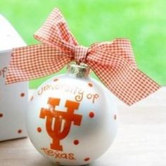 Any fan will love this Texas Logo Ornament. You'll be proud to showcase your school pride during the holiday season with this spirited ornament featuring the Texas logo and school colors! Each ornament is perfectly packaged with a matching gift box and coordinating tied ribbon for easy gift giving and safe storage.