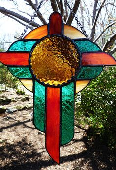 Southwestern Style Stained Glass Cross by miloglass on Etsy, $22.00