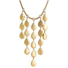 John Hardy Palu Gold & Diamond Chandelier Necklace (€6.770) ❤ liked on Polyvore featuring jewelry, necklaces, accessories, gold teardrop necklace, druzy necklace, gold jewelry, teardrop diamond necklace and gold necklaces