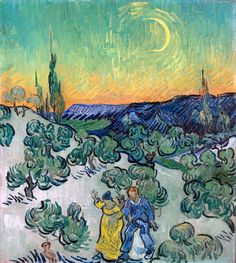 Vincent Van Gogh「Couple Walking among Olive Trees in a Mountainous Landscape with Crescent Moon」(1890)