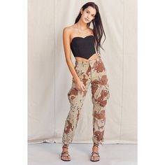Vintage Stonewashed Camo Surplus Pant ($69) ❤ liked on Polyvore featuring pants, high waisted camo pants, high-waisted trousers, high rise pants, pink camouflage pants and camo pants