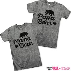 Mama Bear / Papa Bear Couples Shirts! We've got hundreds of matching designs for you and your boyfriend / girlfriend! Check out our 3 way BFF shirts, grab a funny sarcastic tee or find the perfect gift for mom! Our shirts are guaranteed to make you laugh out loud!