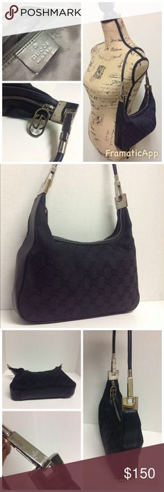 "Gucci Black Small Hobo Handbag Gucci Black Logo Small Hobo Handbag. Measures approx 10""x6"" Pre owned with some signs of wear on silvertone hardware & the leather on the detachable  handle which could easily be fixed see photos.Thanks for looking Gucci Bags Shoulder Bags"