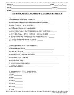 Atividade de matemática: Composição e decomposição numérica - 4º ou 5º ano