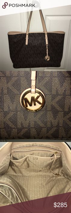 "✨ Michael Kors Tote ✨ Beautiful purse, gently used a handful of times. No scratches, marks, etc. Slight wear on handle. Excellent condition inside, No scuffs on edges. Dimensions: 18"" x 11"" x 5.5"". 9"" drop. 7 pockets with spacious middle pocket. Michael Kors Bags Totes"