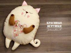 """Красивые Игрушки: Подушка котенок """"Сплюшка"""" ко дню Св. Валентина + МАСТЕР КЛАСС!!!"""
