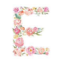 Silhouette Design Store - View Design floral monogram letter e Flower Letters, Flower Frame, Monogram Letters, Lettering Design, Hand Lettering, Image Deco, Foto Art, Letter Art, E Letter Design